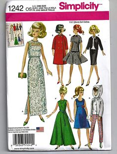 Doll Pattern Simplicity 6208 Barbie Doll by GreyDogVintage.my other Barbie pattern. Barbie Sewing Patterns, Simplicity Sewing Patterns, Doll Clothes Patterns, Vintage Sewing Patterns, Doll Patterns, Clothing Patterns, Knitting Patterns, Barbie Style, Barbie Wardrobe