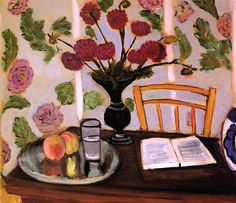 Henri Matisse - Still Life - Bouquet of Dahlias and White Book