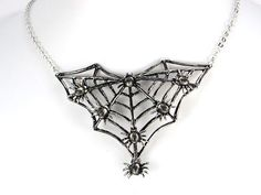 Gunmetal Tone Halloween Spider Insect Bug Family Web Crawl Collar Fun Necklace Alilang http://www.amazon.com/dp/B005DA176S/ref=cm_sw_r_pi_dp_qHXxub0H1VD02