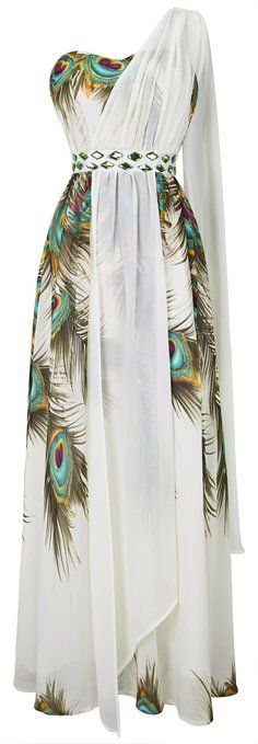 Angel-fashions Women's Stylish Floral Printed Beaded One Shoulder Maxi Dresses Large