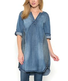 Take a look at this Morning Apple Denim V-Neck Shift Dress today!