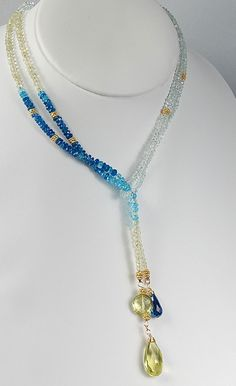 Blue and Yellow Aquamarine & Apatite 43 Long Lariat with by agusha