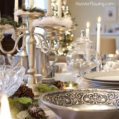 Vintage Chic Tablescape ~Entertaing with Silver charm ~