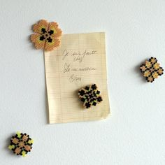 Magnets handmade yellow pink salmon black slavic by Leminussieu