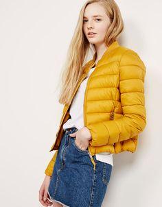 BSK ribbed fine nylon jacket with collar - Coats and jackets - Bershka Romania