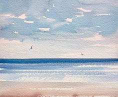 sea watercolor Sunlit shore, St Annes-on-sea original art watercolour painting by fine artist Timothy Gent. Inspired by the light over the seashore at St Annes-on-sea beach in Lancashire, England. Available now in the Timothy Gent Gallery online. Watercolor Paintings For Beginners, Watercolor Pictures, Watercolor Landscape Paintings, Seascape Paintings, Landscape Art, Watercolor Techniques, Watercolor Sunset, Abstract Watercolor, Watercolor Illustration
