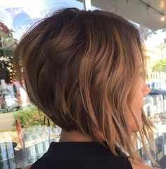 Angled Brown Bob With Caramel Highlights