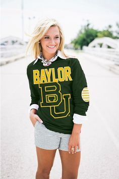 Baylor Bears BU elbow patch tee // Fact: elbow patches make everything better.