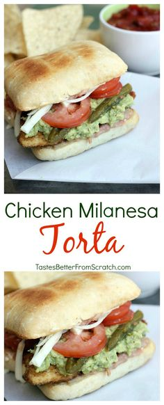 Beef Milanesa Torta -- My favorite authentic Mexican sandwich includes layers of refried beans, guacamole, thinly breaded chicken breast and pickled jalapenos. Paninis, Italian Recipes, Mexican Food Recipes, Mexican Tortas Recipe, Dinner Recipes, Mexican Sandwich, Hispanic Dishes, Frijoles Refritos, Hamburgers