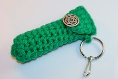 Kelly Green Lip Balm Cozy / Holder with Celtic Knot Design Button - St Patricks Day, Celtic, Keyring, Lanyard - Ready to Ship