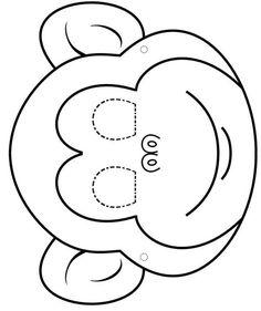 Animal Masks Coloring - AZ Drawings for .- Caretas De Animales Para Colorear – AZ Dibujos par… – Animal Masks Coloring – AZ Drawings for … – - Applique Templates, Applique Patterns, Felt Crafts, Paper Crafts, Printable Animal Masks, Monkey Mask, Activities For Kids, Crafts For Kids, Felt Patterns