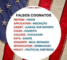 Falsos cognatos. English Help, English Articles, Perfect English, English Tips, English Study, English Class, English Lessons, English Vocabulary, English Grammar