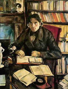 PAUL CEZANNE Portrait of Gustave Geffroy (1895).  Nice to see a painting of a man reading.  I'm always pinning women!