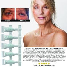 Become Ageless Instantly with Premier Face Lift -5 Vials 10ml Total -Remove Wrinkles, Bags, Lines, Puffiness & Dark Circles Instantly Powerful Clinical Anti Wrinkle Microcream -Facelift in a Box