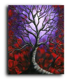 Gallery Canvas and Fine Art Prints Tree by NYoriginalpaintings #treeart #treepaintings #artprints #fantasy #abstract #whimsical #colorful #homedecor #art #collection #acrylic #purple #landscapeart #scenic #moonlight #contemporary #modern