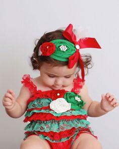 Christmas Romper - Christmas Baby Romper- Baby Holiday Outfit - Girls Christmas Outfit- - Christmas Dress. $35.00, via Etsy.