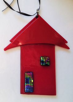 Handmade Red Fused Glass House Ornament/Suncatcher w/Dichroic Accents