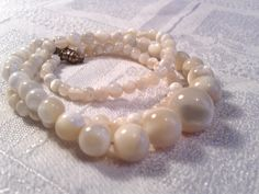 Vintage Mother of Pearl Bead Necklace, 30s, 40s. by GothiqueGirl on Etsy