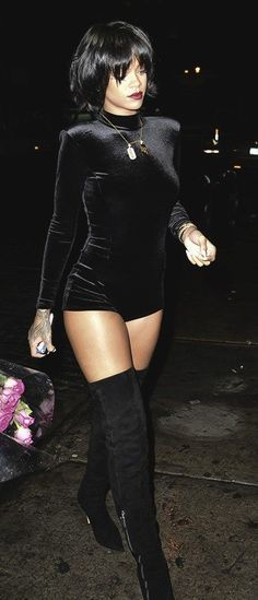Rihanna styled one piece velvet long sleeve turtleneck romper jumpsuit. Perfect celebrity fashion at a affordable price.