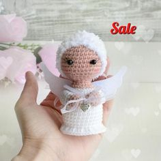 Angel handmade knit toy doll White Angel handmade doll crochet angel handmade souvenir little angel Toys Amigurumi angel Doll crochet doll Angel Crochet Pattern Free, Crochet Angels, Crochet Bunny, Crochet Dolls, Bear Valentines, Knitted Booties, Toddler Gifts, Cute Dolls, Amigurumi Doll