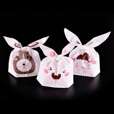 Lovely Rabbit Sheep Rat Print White Packaging Bags Shopping Bag Supermarker Plastic Bags With Handle Candy Cookies, Rabbit Ears, Candy Bags, Cheap Bags, Festival Party, Decoration, Sheep, Party Supplies, Gift Wedding