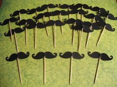 MUSTACHE BASH Lil Man Baby Boy Shower Cupcake Toppers Picks SET of 24 via Etsy