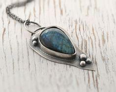 Labradorite metalwork pendant sterling silver by SylviaArtGallery