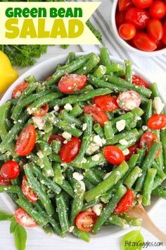 The perfect summer salad recipe. This Green Bean Salad - is fresh green beans & tomatoes, fresh herbs and feta cheese, tossed in a light garlic and lemon dressing. A refreshing side dish to any summer bbq! Fun Easy Recipes, Potluck Recipes, Easy Salads, Healthy Salad Recipes, Summer Salads, Side Dish Recipes, Summer Bbq, Healthy Meals, Healthy Food