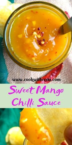 Sweet Mango Chilli Sauce - Cook With Renu Sweet Mango Chilli Sauce is a fuss free 10 min lip smacking and a tongue tickling recipe that goes well with chips, starters as a spread or as a dressing. Jelly Recipes, Mexican Food Recipes, Healthy Recipes, Healthy Pizza, Curry Recipes, Detox Recipes, Salad Recipes, Eat Better, Marinade Sauce