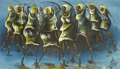 The Fanti Women  list price: $500 | Discount: 50% |   The Fanti people lived along the coast of western Ghana. In this painting, female warriors are depicted dancing in celebration of their independence. The golden tones of the figures contrast with the deep blue background to create a stirring image.