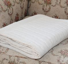 Colin Ivory 100% soft cotton cable knit throw 180cm x 150cm