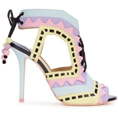 Womens High-Heel Sandals Sophia Webster Riko Pastel Leather Sandals found on Polyvore featuring shoes, sandals, heels, leather lace up sandals, beaded sandals, leather heel sandals, colorful sandals and open toe sandals