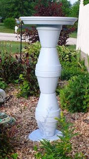 Easy Clay Pot Bird Bath  think of all the ways you could paint it to match your decor