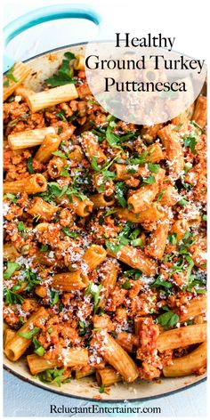 Easy weeknight hosting with this Healthy Ground Turkey Puttanesca recipe made with whole wheat pasta, and a sauce with garlic, tomatoes, and olives. Ground Turkey Casserole, Ground Turkey Pasta, Healthy Ground Turkey, Healthy Turkey Recipes, Ground Turkey Tacos, Healthy Pastas, Healthy Ground Chicken Recipes, Dinner Healthy, Wheat Pasta Recipes Healthy