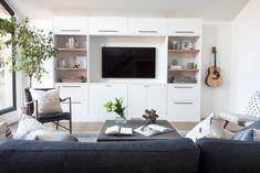 Custom Ikea built in tv unit with wood shelves. Neutral styling Source by dawnreyestakaki . Ikea Built In, Tv Built In, Built Ins, Built In Tv Cabinet, Modern Tv Units, Wood Shelves, Glass Shelves, Ikea Shelves, Ikea Cabinets