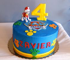 Paw Patrol Birthday Party - Cake and customizable food labels and goody bag toppers