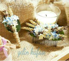 Bride hair accessory& Boutonniere  Yaka cicegi hediyedir. Farkli tasarimlar icin instagram ; gelin_kafasi