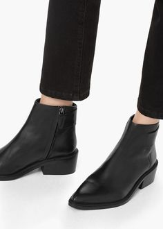 Zipped leather ankle boots