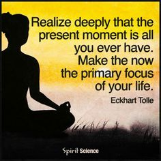 Realize deeply that the present moment is all you ever have. Make the now the primary focus of your life.. Eckhart Tolle