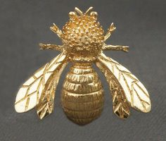 Rare Vintage Gump's Solid 14K Gold Bumble Bee, Insect, Pin, Brooch w/ Orig. Box! #Gumps