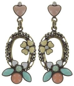 earring stud dangling Bug Me Now pastel multi antique brass