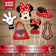 Pink Polka Dots Personalized Minnie Mouse PRINTABLE Centerpiece Set – Any Age – Minnie Mouse Centerpiece Party Printables for Birthday Party Minnie Y Mickey Mouse, Mickey Party, Festa Party, Mickey Mouse Birthday, Happy Birthday Banners, 2nd Birthday, Pink Polka Dots, Party Printables, Decoration