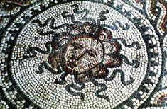Medusa, ancient Roman mosaic at Bignor Roman Villa, Sussex. (BBC.co.uk)