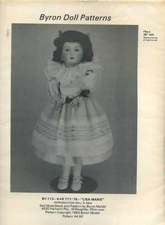 Byron Doll Pattern 1980's 113 Lisa Marie Fits 25 Old Store Stock Like New Sewing Pattern by LanetzLivingPatterns on Etsy