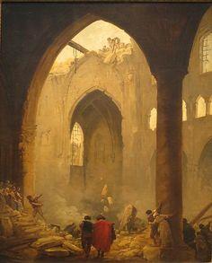 """The Destruction of a Church by Hubert Robert """"des Ruines"""""""