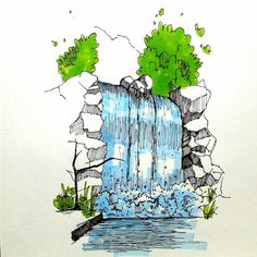 Best Picture For Architecture Drawing rendering For Your Taste You are looking for something, and it Architecture Drawing Sketchbooks, Landscape Architecture Drawing, Watercolor Architecture, Unique Architecture, Cartoon Drawings, Easy Drawings, Pencil Drawings, Sketch Painting, Watercolor Paintings
