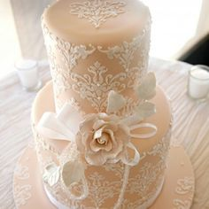 Lace Wedding Cake. Imagine, this with a blue ribbon around the base of each tier. Egg Shell blue...