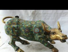 "8800624<<<26"" Chinese Cloisonne Bronze Zodiac Year Bull Oxen Cattle Statue"