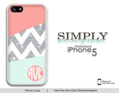 iPhone 5 Case iPhone 5s Case iPhone 5c Case Samsung Galaxy S4 case  - coral and mint sparkle monogram (NOT ACTUAL GLITTER)