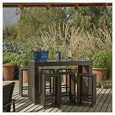 Juego 7 piezas Bar Maderia Aluminio Ratán PE-Sodimac.com Outdoor Furniture Sets, Outdoor Decor, Bar, Patio, Table, Home Decor, Table And Chairs, Mesas, Gardens